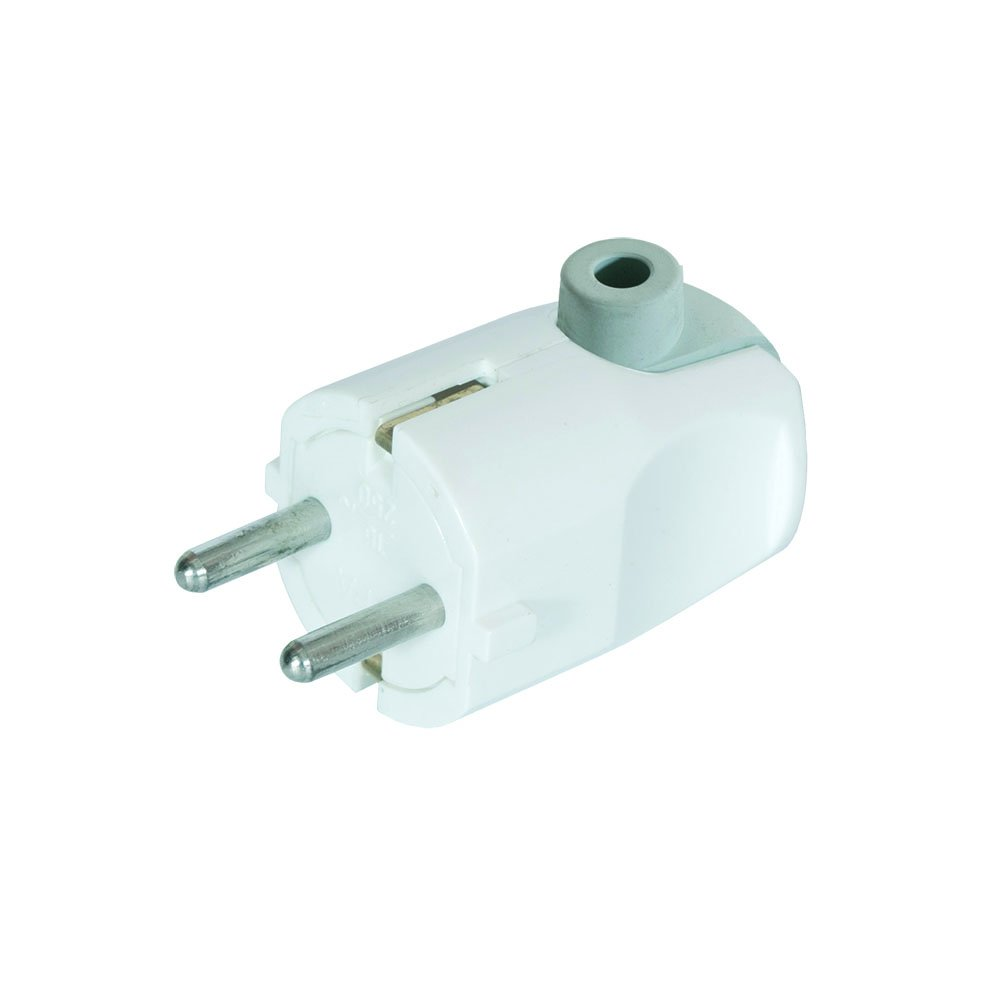 Fiche Schuko Angle Blanc avec contact de protection Blanc IP20/ 16/ A ~ 250/ V