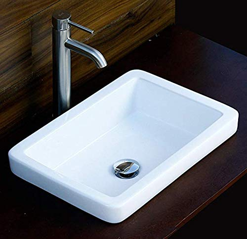 (Elimax's SR-7444L3 combo Bathroom Semi-Recessed Ceramic Porcelain Vessel Sink With Faucet and Pop Up Drain)