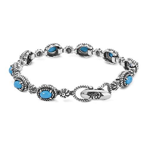 Sterling Silver Oval Turquoise Station Link Bracelet - Medium ()