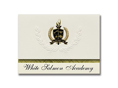 Signature Announcements White Salmon Academy (White Salmon, WA) Graduation Announcements, Presidential style, Basic package of 25 with Gold & Black Metallic Foil (White Gold Salmon)