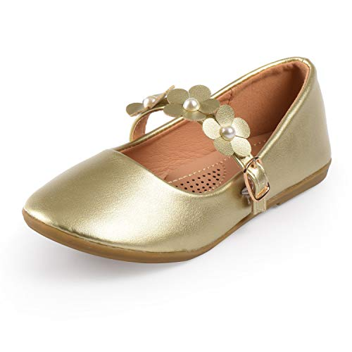 Nova Utopia Toddler Little Girls Flower Girl Dress Ballet Mary Jane Bow Flat Shoes,NF Utopia Girl NFGF063 GoldPU 10 ()