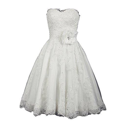 (Kivary Plus Size Strapless A Line Short Informal White Beaded Wedding Dresses US 22W)
