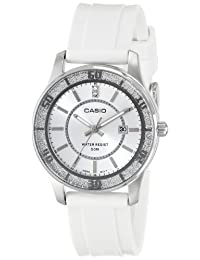 Womens Silver Sparkle Analog White Resin Strap Date Window Wrist Watch 50 Meters
