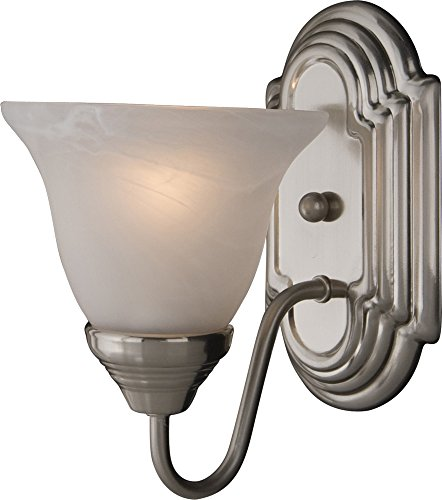 Maxim 8011MRSN Essentials 1-Light Wall Sconce Bath Vanity, Satin Nickel Finish, Marble Glass, MB Incandescent Incandescent Bulb , 25W Max., Dry Safety Rating, 2900K Color Temp, Standard Dimmable, Glass Shade Material, 4800 Rated Lumens