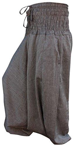 Plain Hippie Harem Aladdin Baggy Loose Fit Genie Gypsy Trouser Pants (Grey) ()