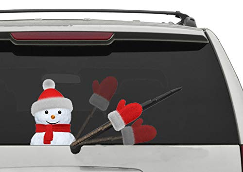 5 STAR SUPER DEALS Rear Vehicle Car Window Animated Moving Waving Wiper Blade Tag Decal Sticker & Hand - Christmas Holiday Windshield Decoration (Snowman - Upgraded Design)