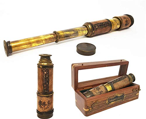 Brass Nautical - 14 inches Antique Telescope / Spyglass Replica in Box (Glass Top Box)