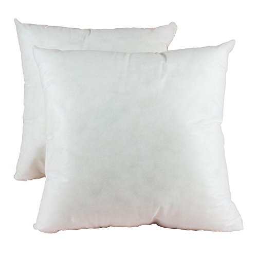 Homey Cozy 20 x 20 Square Sham Pillow Insert - Polyester Fiber Hypoallergenic Stuffer Pillow Form Filling Decorative Couch Cushion - MADE IN USA - Set of 2 by Homey Cozy