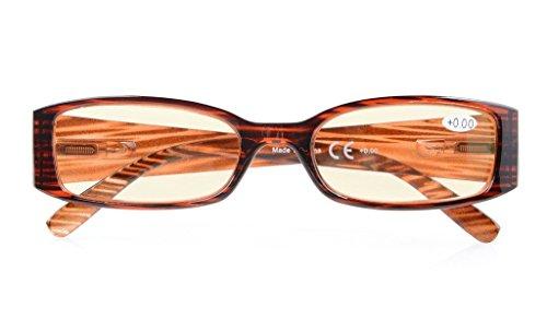 UV Protection,Anti Blue Rays,Reduce Eyestrain,Computer Reading Glasses Women(STRIPE,Amber Tinted Lenses) +2.75
