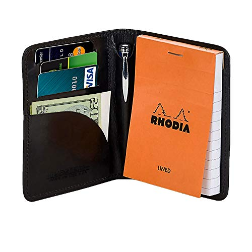 (Hanks Leather Notesman Wallet and Credit Card Holder - USA MADE - Black)