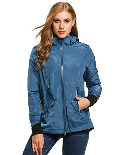 Trudge - Manteau impermable - Femme - Bleu - 40 (Taille Fabricant: M)