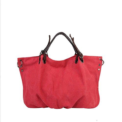 Frauen-Segeltuch-große Handtaschen-Wochenende-Tote-Schulter-Beutel,Black-OneSize ADEFG