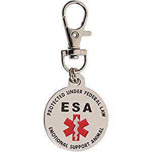 DOUBLE SIDED Emotional Support Animal (ESA) Red Medical Alert Symbol and Protected by Federal Law 1.25 inch ID Tag. QUICK RELEASE metal lobster clamp allowing you to switch between collars and vest. 34