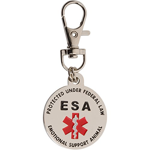 Quick Release Supports - DOUBLE SIDED Emotional Support Animal (ESA) Red Medical Alert Symbol and Protected by Federal Law 1.25 inch ID Tag. QUICK RELEASE metal lobster clamp allowing you to switch between collars and vest.