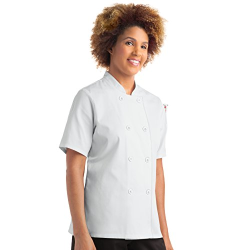 - On The Line Women's Short Sleeve Chef Coat (XS-5X, 2 Colors) (X-Small, White)