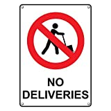 Weatherproof Plastic Vertical No Deliveries Sign with English Text and Symbol
