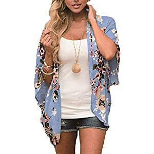 Chunoy Women Floral Print Lightweight Chiffon Kimono Cardigan Short Sleeve Loose Beach Wear Cover Up Blouse Top