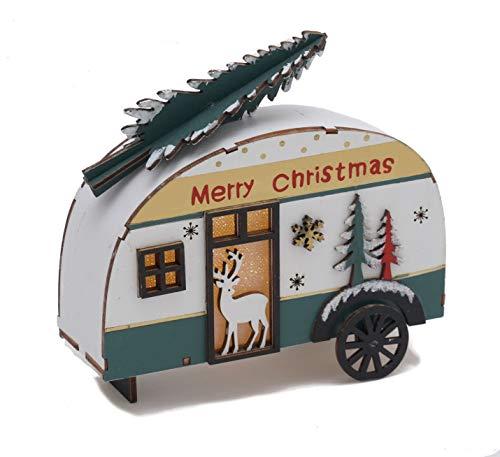 41 PWUyQJqL Holz Deko Wohnwagen mit Tannenbaum beleuchtet - LED Weihnachtsdekoration Tischdeko