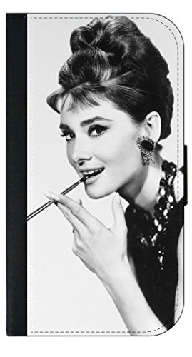 (Vintage Actress Audrey Hepburn © iPhone 5, 5s Universal Leather-Look Wallet Case with Flip Cover and Magnetic Clasp Made in the U.S.A.)