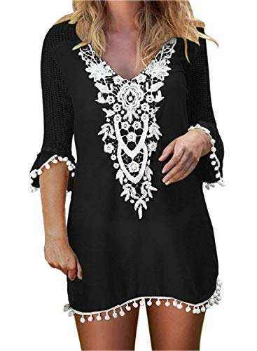 (BLUETIME Cover Ups for Swimwear Women's Lace Crochet Chiffon Beach Swimsuit Coverups Tunic (L,)