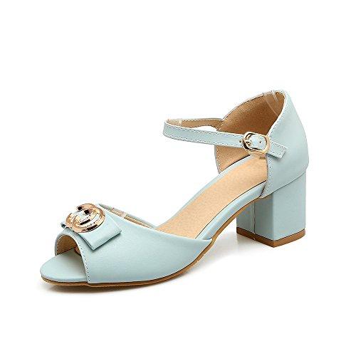 Qin&X Bloque de Mujer Tacones Peep Toe Sandalias Blue
