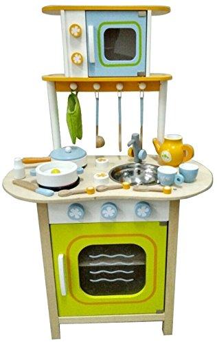Cuisine en bois pour enfants Vert avec accessoires - env. 57 x 33 x 100 cm