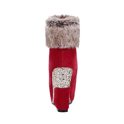 Low con Allhqfashion cremallera Botas alto redonda con con y tacón cremallera mujer punta top rojas para gFUUBqwa
