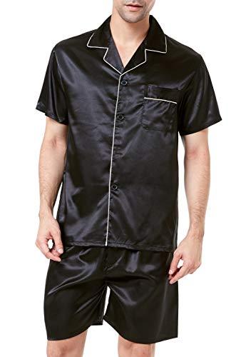 Men's Satin Pajamas Short Button-Down Pj Set Sleepwear Loungewear (Black/White, L)