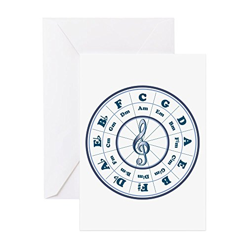(CafePress New Blue Circle Of Fifths Greeting Card, Note Card, Birthday Card, Blank Inside Glossy)