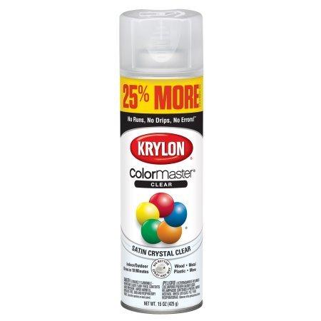 Krylon ColorMaster Paint + Primer Satin Acrylic Crystal Clear, 15-Oz