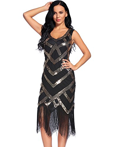 Flapper Girl Vintage inspired 1920s Art Deco Sequin Fringe Flapper Dress (XL, Black)