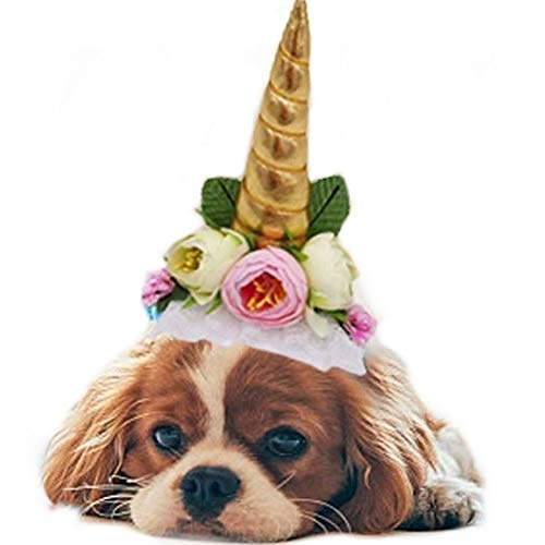 Stock Show 1Pc Halloween Pet Unicorn Shape Hat with Ribbon String Cat Dog Headwear with Flower Decor Pet Birthday Party Festival Supplies Halloween Pet Costume Accessory for Small Dog Cat, Golden ()