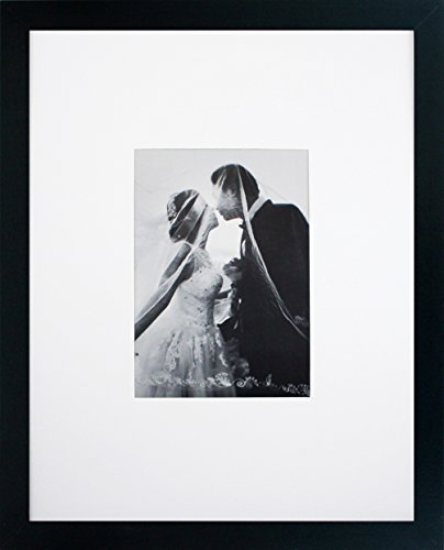 11x14 Black Gallery Picture Frame with 5x7 Mat - Great Gift - Mat for Wedding and Celebration Signatures - Includes Attached Hanging Hardware and Desktop Easel - Display Pictures 5 x 7 or 11 x 14