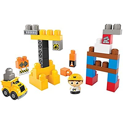 Mega Bloks First Builders 30 Piece CAT (Caterpillar) Big Building Zone (7876): Toys & Games