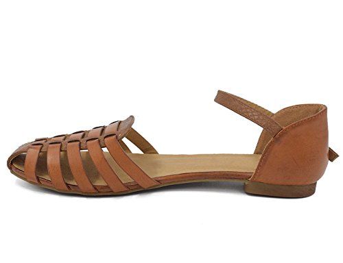 MaxMuxun Womens Roman Ankle Strap Cage Closed Toe Camel Flat Sandals Size 9 by MaxMuxun (Image #4)