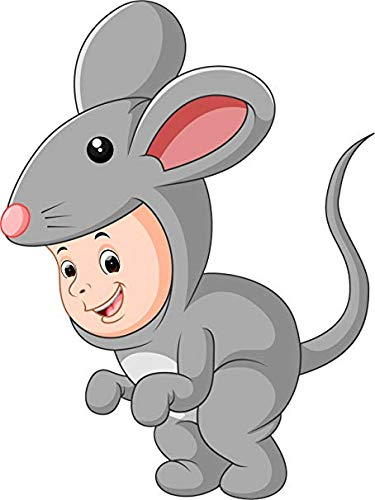 EW Designs Cute Baby in Animal Costume Cartoon - Mouse Vinyl Decal Bumper Sticker (2