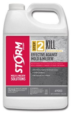 Storm Brand - Step 2 Kill - 1 Gallon Powerful DISINFECTANT and DEODORIZER for mold and mildew - use for carpet, wood, laminate, concrete, drywall, stone, plastic, siding, outdoor furniture, - 2 Step System