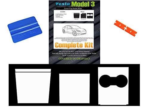 BougeRV For Tesla Model 3 Center Console Black Wraps Matte Door Sill Protector Vinyl Kits