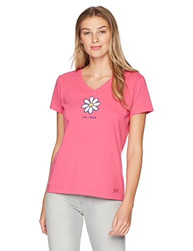 Life is Good Womens Daisy Graphic T-Shirt V-Neck Collection,Fiesta Pink Classic,Medium (Life Shirts Womens Good Is)