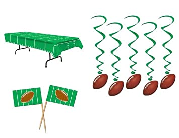 game day football nfl super bowl party decorations table cover 50 appetizer picks 5 hanging - Football Decorations