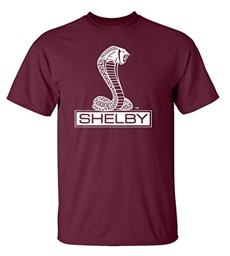 (Ford Shelby Cobra Car T-Shirt Adult Men's Short Sleeve-Maroon-Small)
