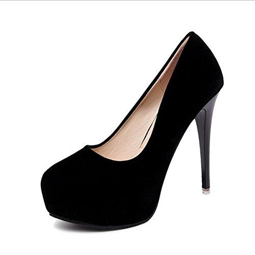Mzg Altos Redonda Agua Y Cabeza Negro Mujer Banco Talón De Resistente Tacones Con Fina Zapatos Al XrXpxq