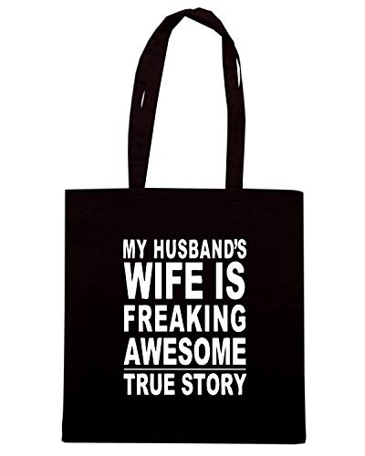 Speed Shirt Borsa Shopper Nera WES0954 MY HUSBAND'S WIFE IS FREAKING AWESOME