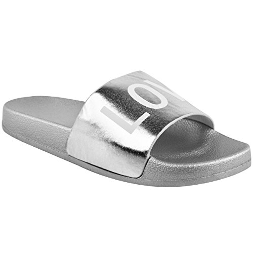 Moda Sed Mujer Plana Deslizadores Casuales Paz Amor Sandalias Zapatos De Verano Tamaño Plata Metálica / Amor