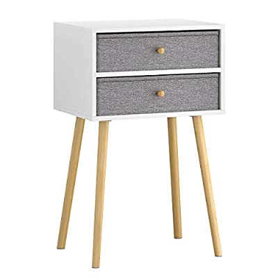 LANGRIA Bedside Table Nightstand End Table with Fabric Storage Drawer Pine Wooden Table for Bedroom Study and Fashion 15.7 x 11.7 x 22.4 inches (Grey) - DECORATION & HOME ESSENTIAL: it mixes mid-century and modern style into your house; equally suited to sit beside a sofa or serve as a nightstand for both storage and display needs FOR ALL PURPOSE STORAGE: the wooden table top and 2 drawers offers ample storage solution for your lotions, looks, phone, and more; your sweet home will be more clean and organized HIGH-QUALITY MATERIAL: table top & frame are made of TSCA proved particle board whereas breathable fabric forms drawers; feet pad featured in each table leg prevents no scratch - nightstands, bedroom-furniture, bedroom - 41 PZOPQ47L. SS400  -