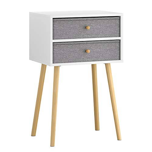 LANGRIA Bedside Table Nightstand End Table with Fabric Storage Drawer Pine Wooden Table for Bedroom Study and Fashion 15.7 x 11.7 x 22.4 inches (Grey) (Table With End Drawer Pine)