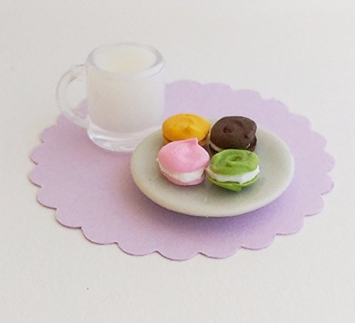- 1:12 Dollhouse Scale Milk Glass with Plate of Macaron Macaroon - for Fashion Dolls like Barbie, Bratz, Ever After High, Monster High, Winx Club, Blythe, Pullip, Miniature Fairy Garden