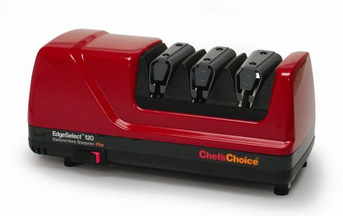 Chef'sChoice 120 EdgeSelect Diamond Hone Professional Knife Sharpener with Precision Angle Control for Straight and Serrated Knives, 3-Stage, Red (Choice Angle Chefs)
