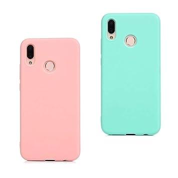 EuCase 2X Funda Huawei P Smart 2019 Silicona Carcasa Huawei P Smart 2019 Antigolpes Suave TPU Flexible Goma Mate Ultra Delgada Goma Color Cubierta ...