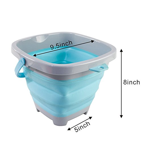 DT Toys Multi-Function Square Foldable Pail Silicone Collapsible Bucket 5 Liter, Fishing Pail Sand Beach Pail for Kids (Blue) by DT Toys (Image #2)